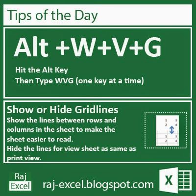 Show or Hide Gridlines (Alt + WVG) Excel Pinterest Alt - excel spreadsheets