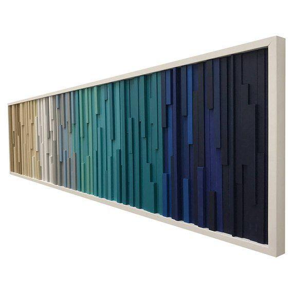 Wood Wall Art, Extra Large Wall Art, Modern Wood Sculpture, Modern, 3D Art, Headboard, Ocean, Coastal, Ombre #reclaimedwoodwallart