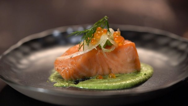 Matt & Luke's Confit Salmon with Peas | My Kitchen Rules #kitchenrules