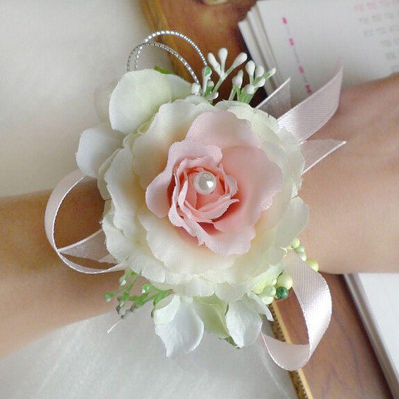 new bridal wrist corsage girl wedding prom hand artificial silk flowers bracelet ebay