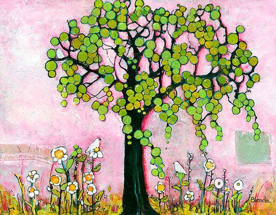 Limited Edition Print Three Little Birds, Pink Artwork, Fine Art Print, Tree of Life, Inspirational Print