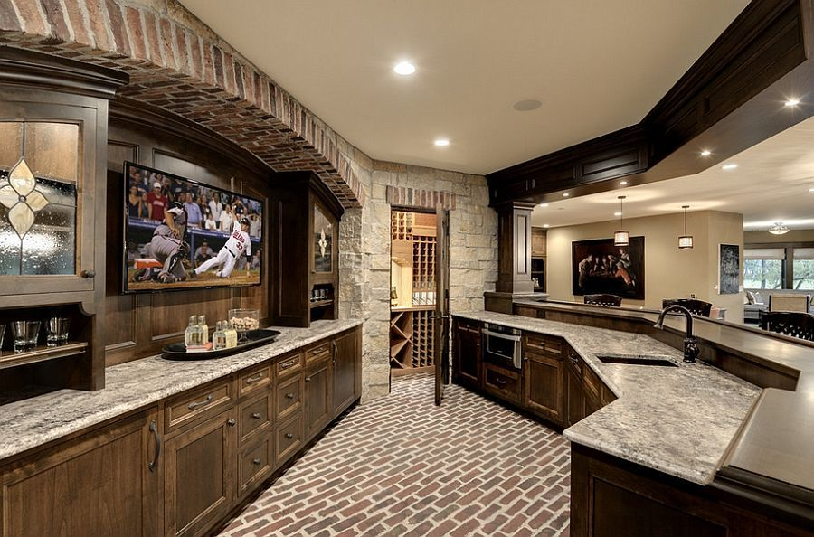 Delightful Wonderful Use Of Space In The Unique Home Bar Creates The Perfect Man Cave!  [