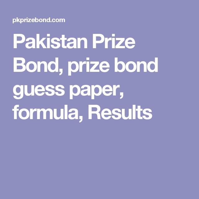 Pakistan Prize Bond, prize bond guess paper, formula
