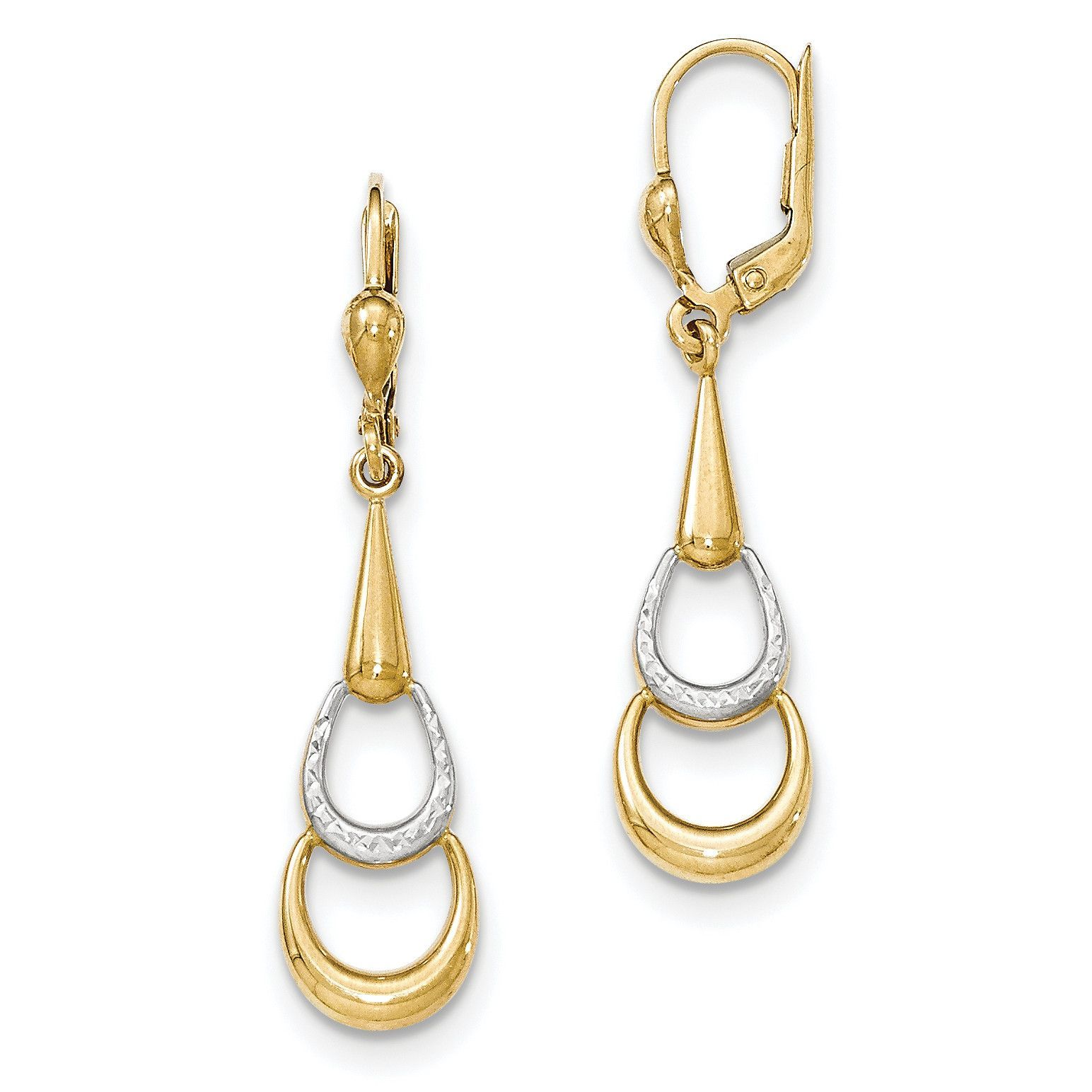 Real 14kt Two-Tone Polished Dangle Leverback Earrings