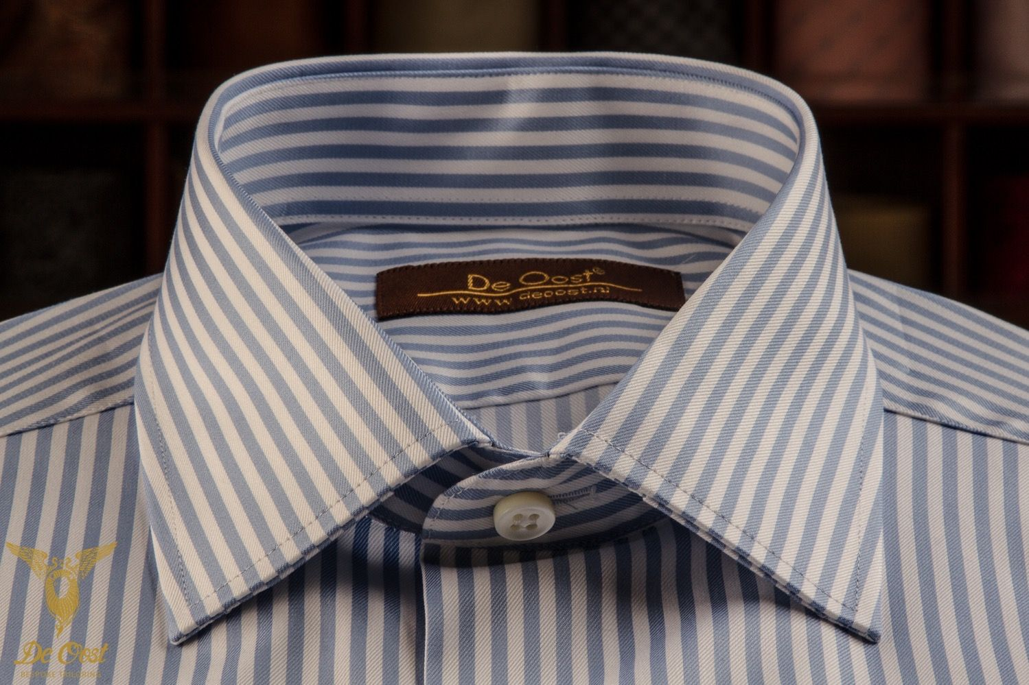 Blue Bengal Stripe Twill Dress Shirt With Double Button Bevelled Cuffs