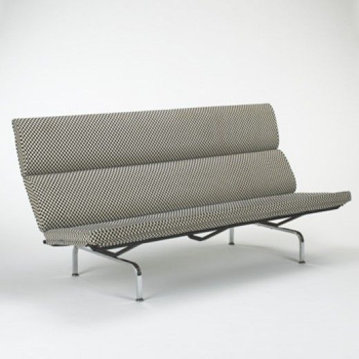 CHARLES AND RAY EAMES    Compact sofa    Herman Miller  USA, c. 1954  upholstery, chrome-plated steel  71 w x 29 d x 36 h inches