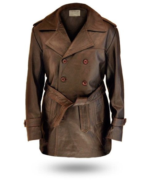 Wide Collar Front Belted Brown Long Coat Jacket | Brown Leather ...