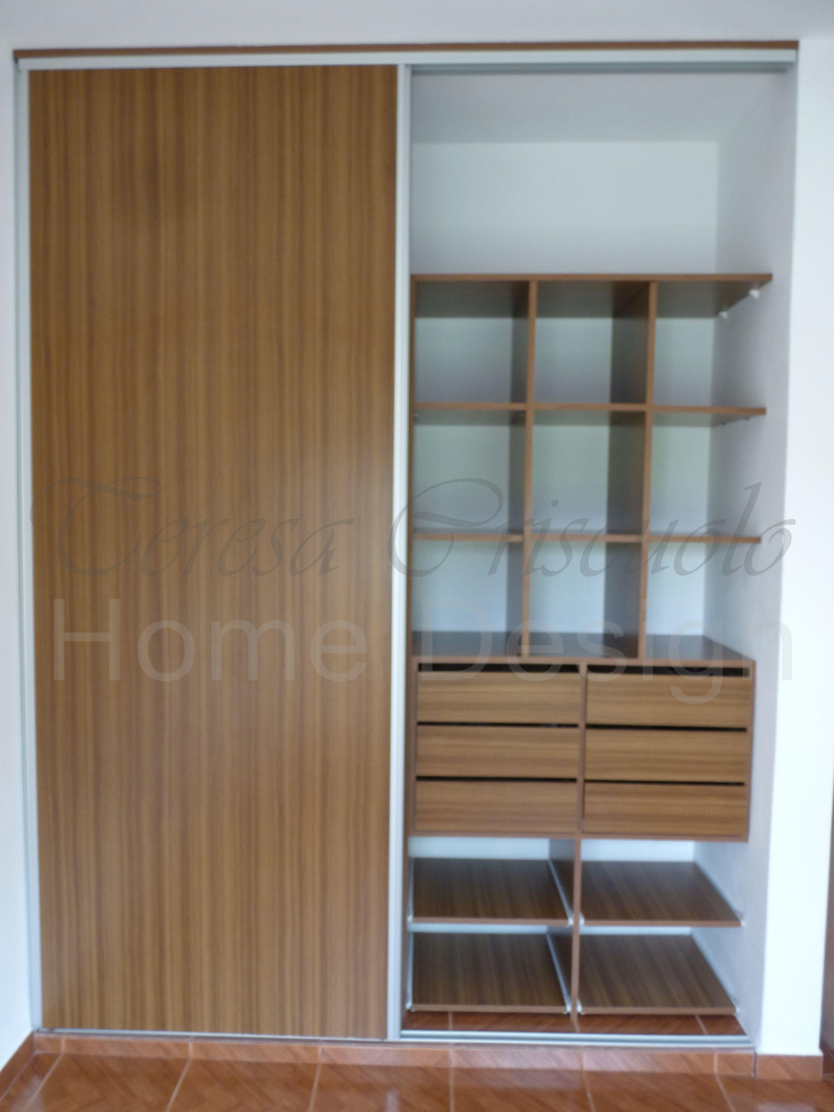 Puertas de placard corredizas en melamina con perfil de aluminio interior con boxes para ropa - Perfiles de aluminio para armarios ...