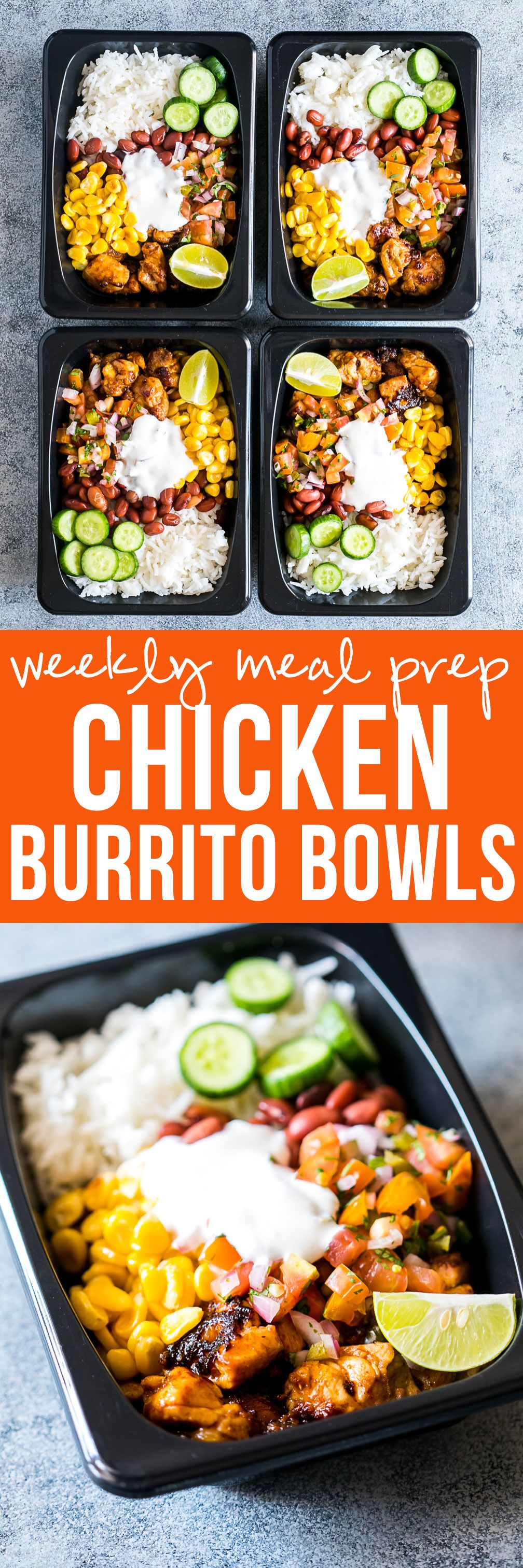 easy chicken burrito meal prep bowls | recipe | delicious recipes