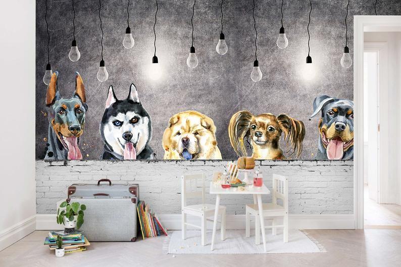 3d Kids Cartoon Cute Dog Wallpaper Nursery Wallpaper Etsy Wallpaper Walls Decor Playroom Wallpaper Cute Dog Wallpaper