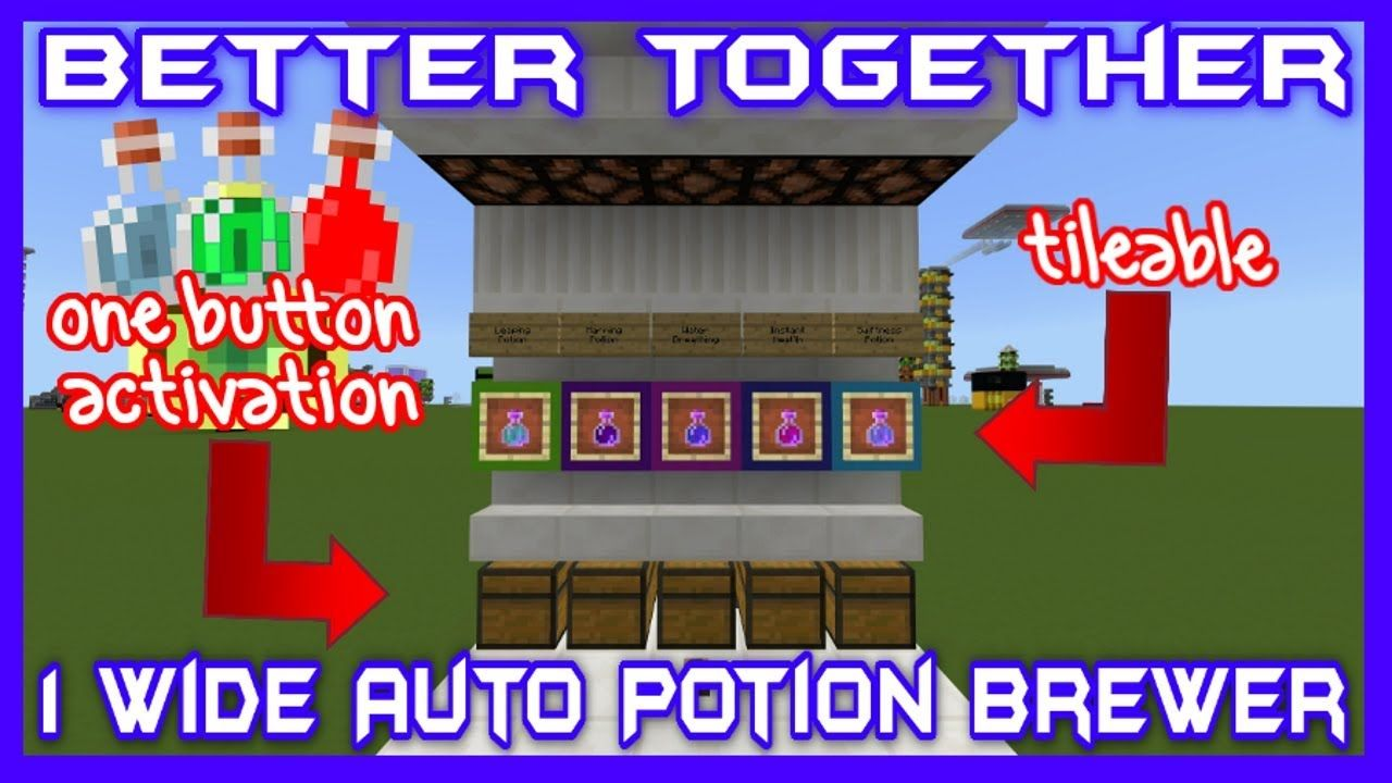 1Wide Tileable Automatic Potion Brewer Bedrock Edition
