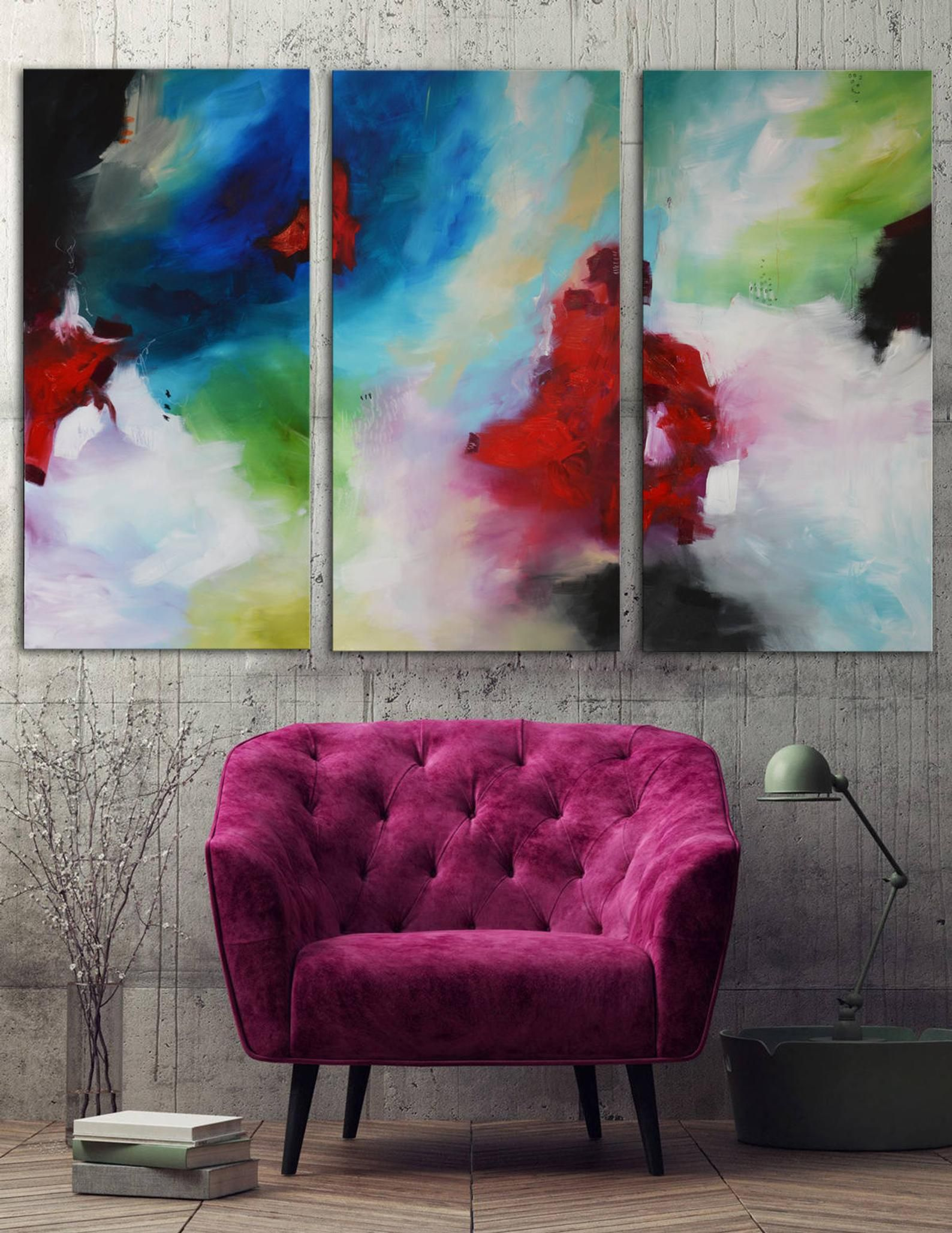 Blue fuchsia painting on canvas lime green abstract