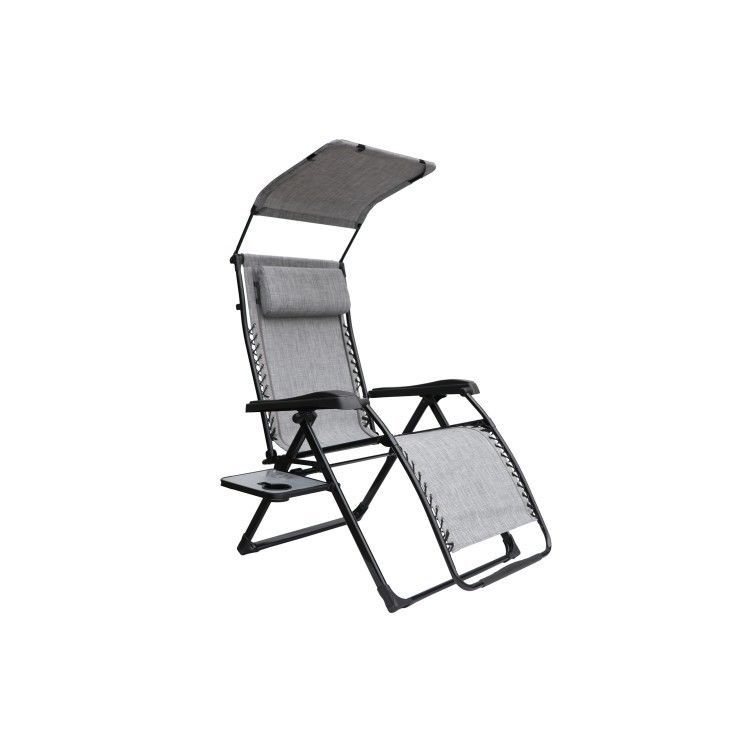 Oversized Zero Gravity Chair Gray Overhead Canopy Side Table