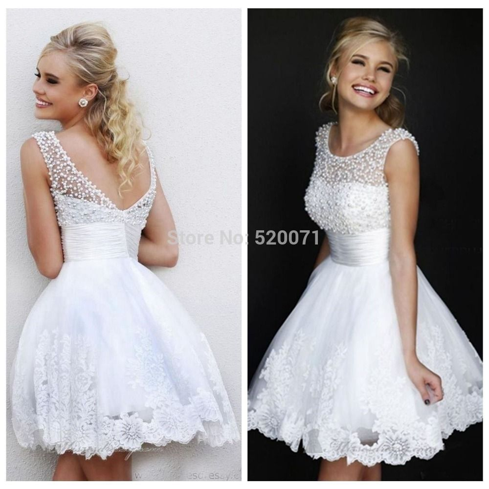 Charming new a line jewel collar sleeveless white applique pearls