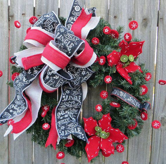 Christmas Wreath Holiday Wreath Chalkboard Wreath by HornsHandmade - christmas wreath decorations