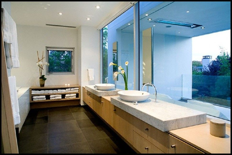 Bathroom Awesome Bathroom View In Soft Rectangular Shape House Design Ideas Bathtub With Nature View