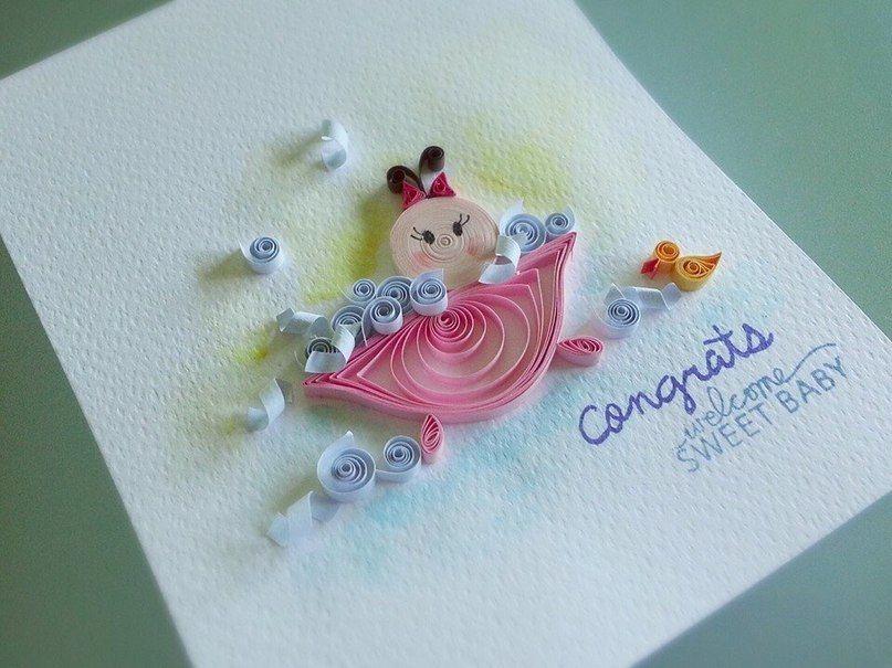 Квиллинг открытка для новорожденных