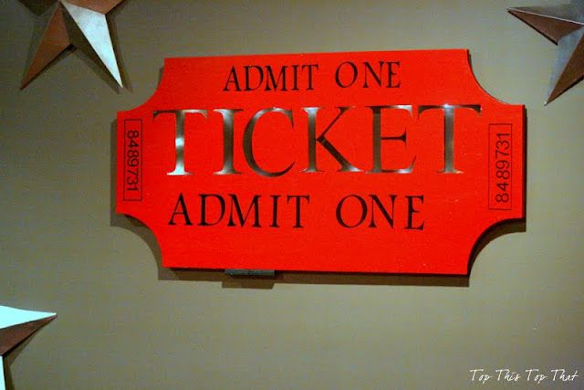 Top This That Diy Ticket Sign Perfect For A Media Room