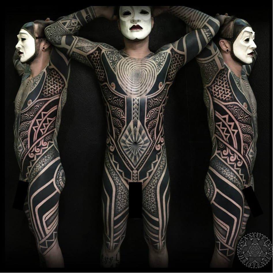 Maori Tribal Tattoos Full Body: Blackwork Bodysuit By Samuel Christensen