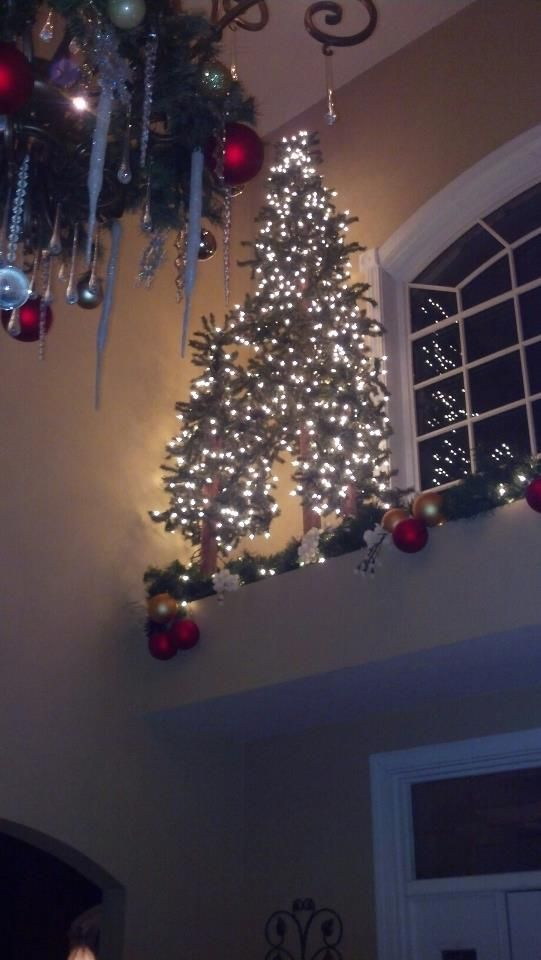 Lit Christmas Trees On Ledge Above Entry Door.