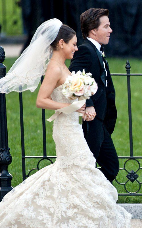 Beaming Mila Kunis And Mark Wahlberg Tie The Knot For Ted Different Wedding Dresses Wedding Dresses Wedding