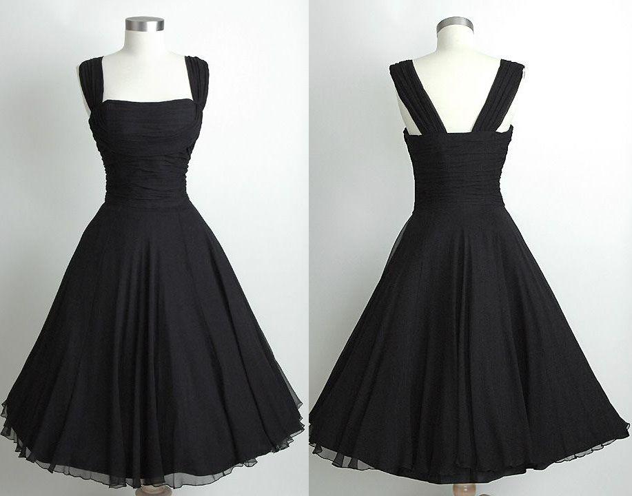 Black Short Knee Length Vintage 60' | Dress black, Black party ...