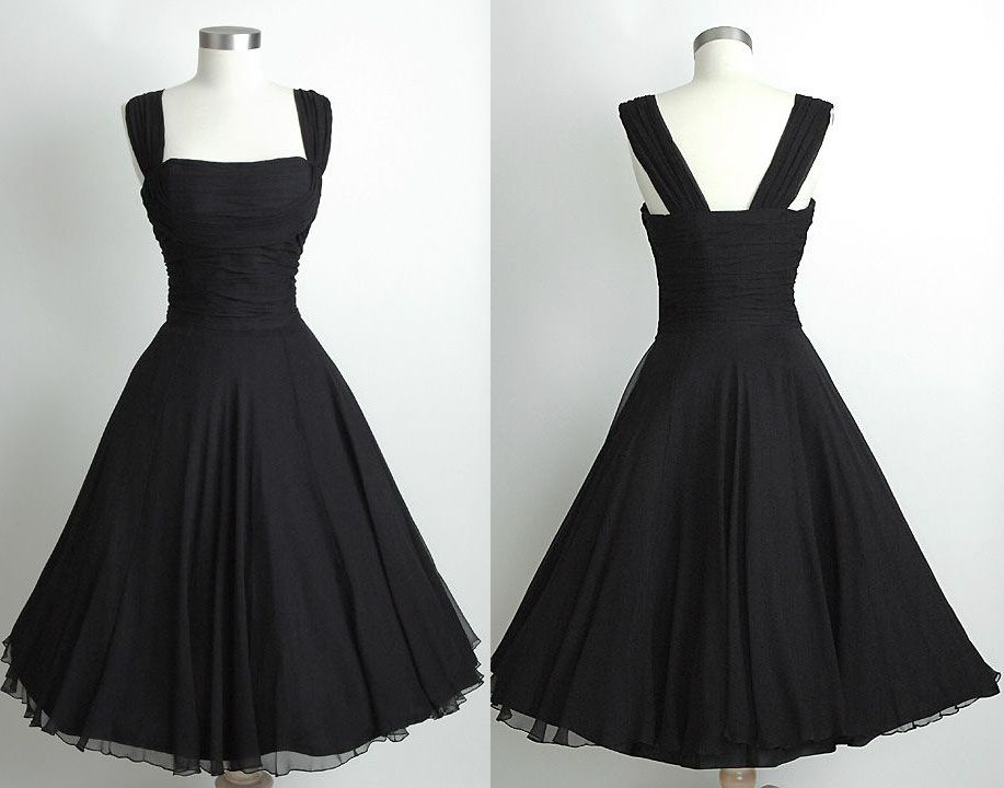 f6a9ecfb24f Black Short Knee Length Vintage 60's Chiffon Prom Dress,Simple Black  Bridesmaid Dress,Black Party Dress,Simple Black Homecoming Dress