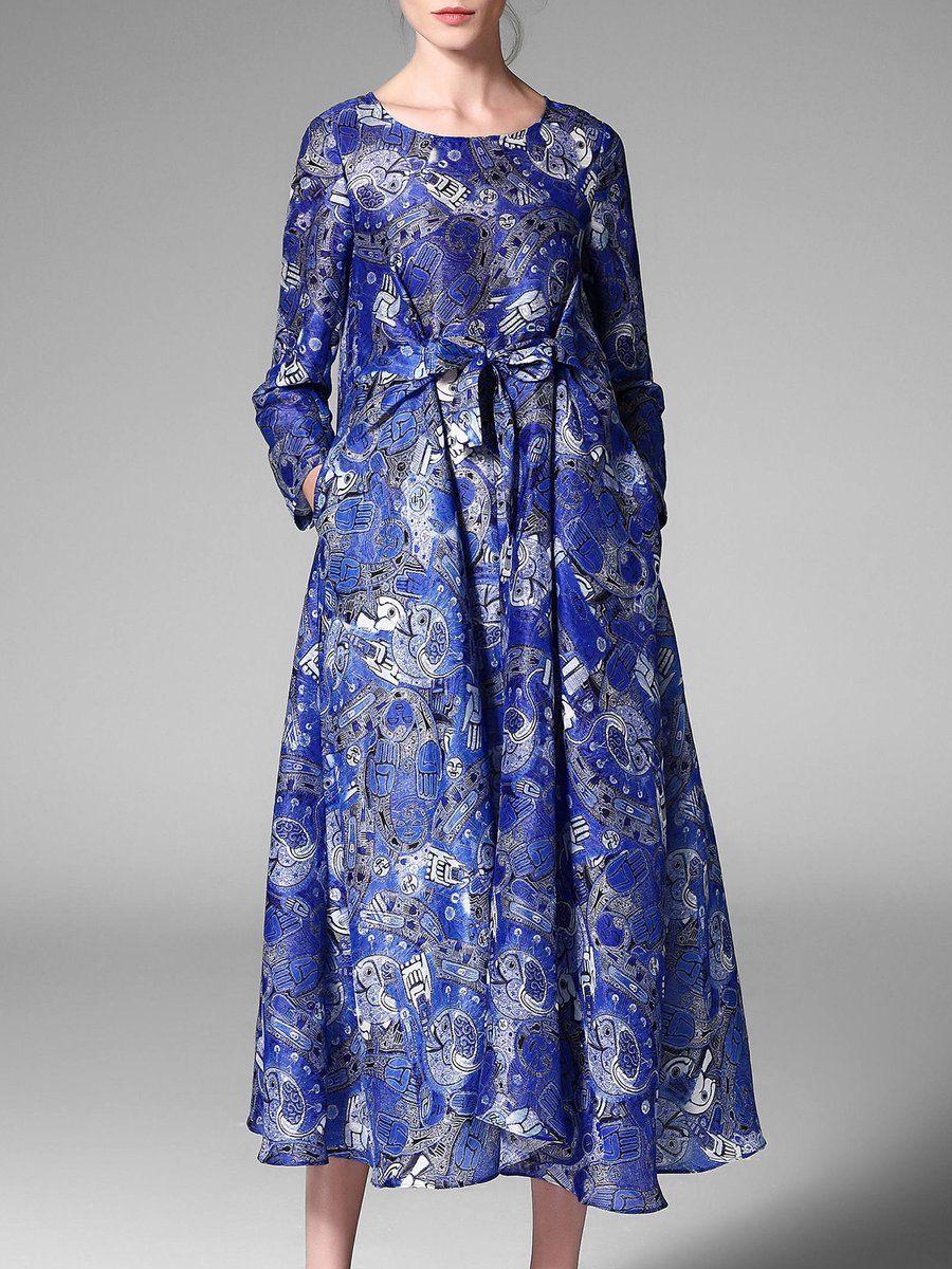 Pokwai Midi Dress #AdoreWe #StyleWe Designer Midi Dresses - Designer Pokwai Blue Bow A-line  Long Sleeve Printed Casual Midi Dress - AdoreWe.com