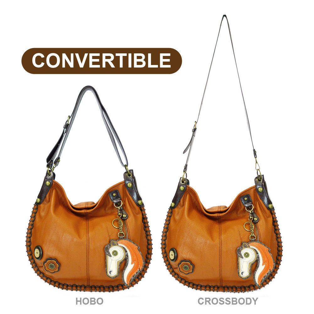9b10aa58f487 New Chala Hobo Crossbody Large Tote Bag HORSE Vegan Leather ORANGE  Convertible in Clothing