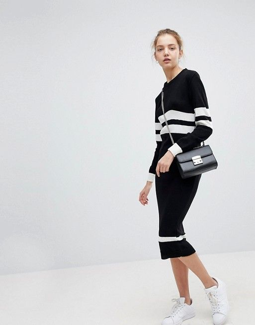 Jumper Dress In Stripe - Black and white Daisy Street