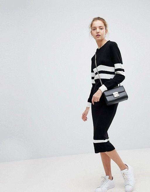 Jumper Dress In Stripe - Black and white Daisy Street Oh3YsCJlC