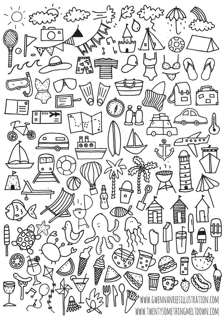 Pencil control worksheet for kids 187 tracing line worksheet for kids - Free Bullet Journal Printables Summer Icons Www Twentysomethingmeltdown Com
