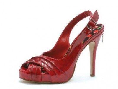 Sexy Red Peep-Toe Sling-Back Sandal