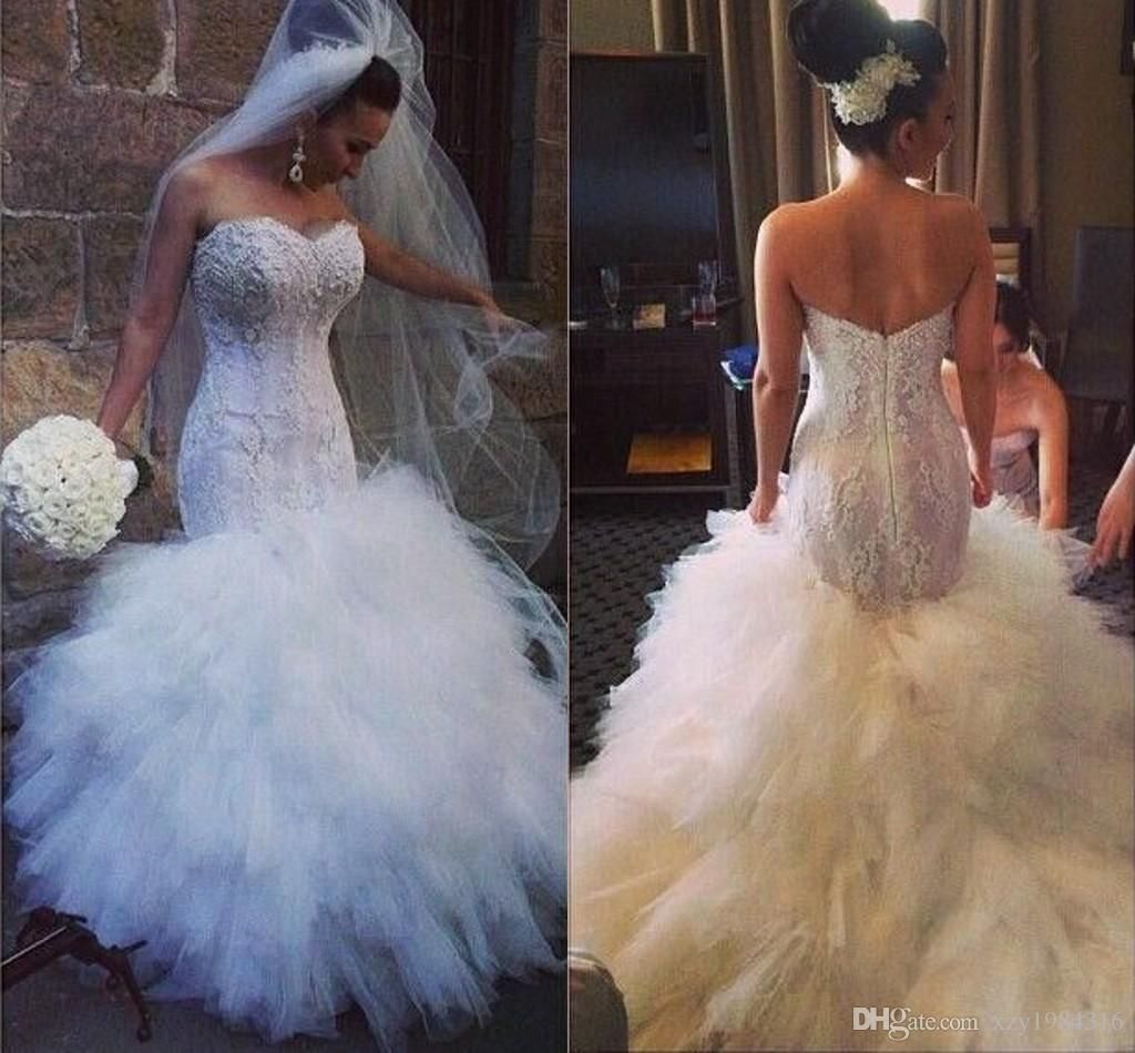 Long sleeve maternity wedding dresses  Bodycon Lace Wedding Dresses Lace Appliques White Tiered Ruffles