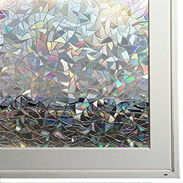 No Glue 3d Static Decorative Laser Window Films 17 7in X 78 7in 45 X 200cm Window Film Glass Etching Rainbow Light
