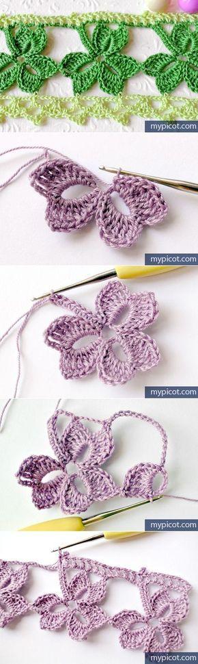 Crochet Trefoil Lace edging with Free Pattern | Häkeln, Blumen ...