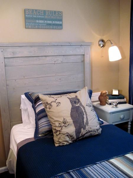 White Reclaimed Wood Headboard