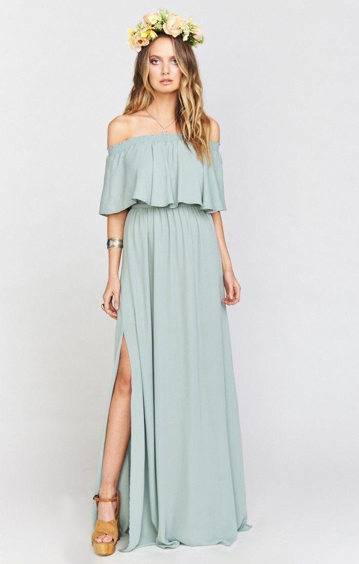 Jurk Bruiloft Blauw.Hacienda Maxi Dress Silver Sage Crisp Show Me Your Mumu