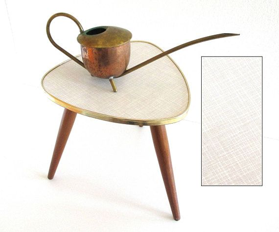 Plant Stand With Pattern Midcentury Tripod White Plant Table Small Kidney  Table West Germany 1950s 60s Retro Boho Home Decor Guitar Pick