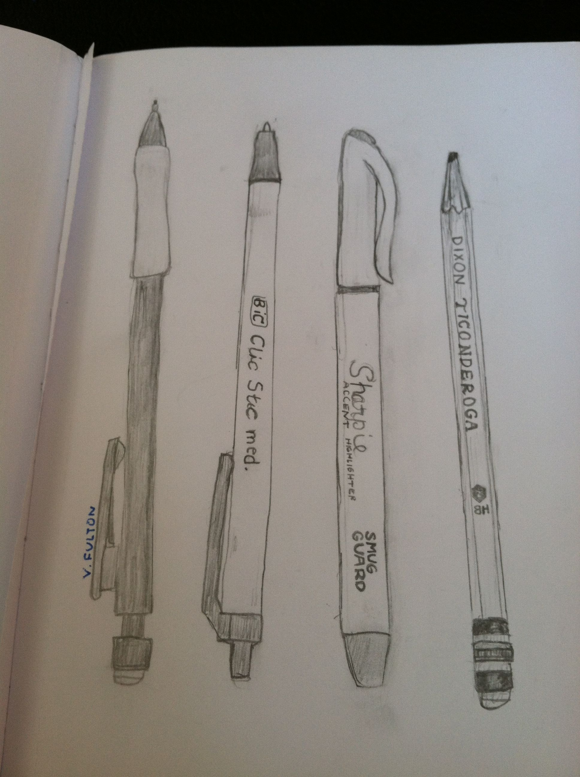 Sketch pencil drawing of pencils pens sharpie