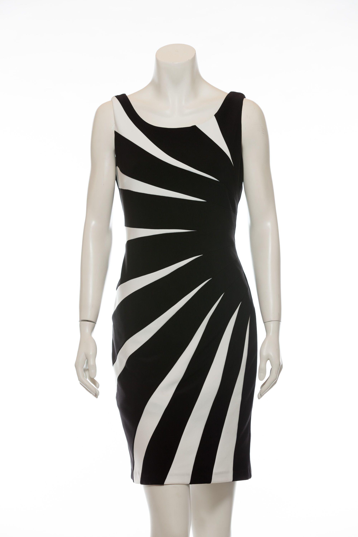 Cocktailkleid - schwarz/cremeweiß Kleid in Kontrastfarben vom