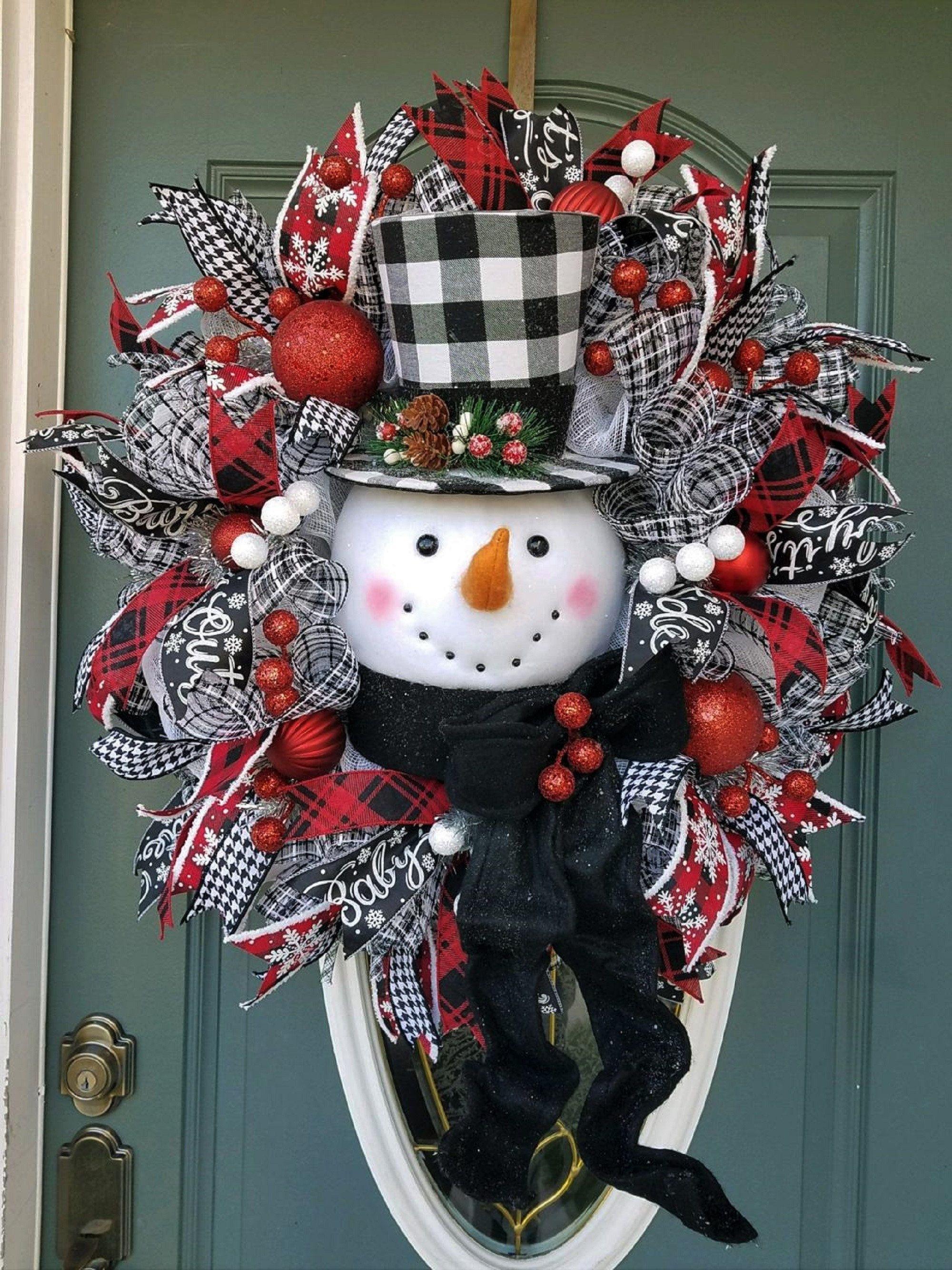 Christmas Wreath Snowman Wreath For Front Door Traditional Christmas Wreath Buffalo Plaid Christ Large Christmas Wreath Christmas Wreaths Christmas Swags