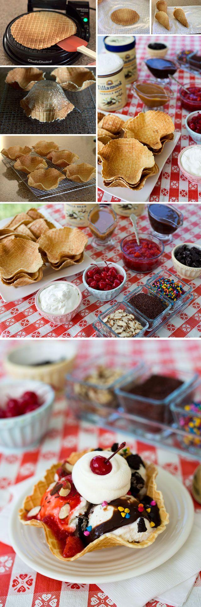 ice cream waffle bowls and cones rezept eis waffeln kuchen rezepte und s e desserts. Black Bedroom Furniture Sets. Home Design Ideas