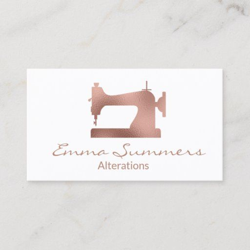 Rose Gold Foil Sewing Machine Alterations Business Card Zazzle Com In 2021 Printing Business Cards Rose Gold Business Card Rose Gold Foil