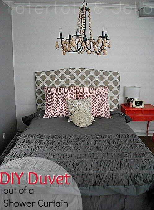 Repurpose Fabric Shower Curtain Into A Ruffled Duvet For The Home