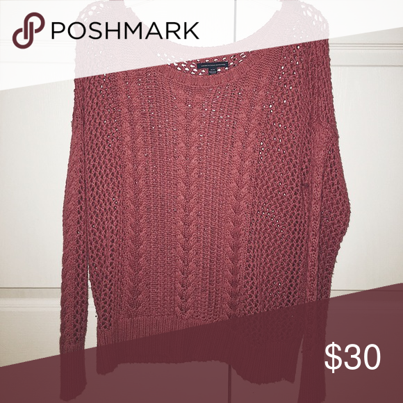 61acd7cf972ccb Burgundy Cable Knit Sweater Cozy Fall Sweater. - cable knit pull over -  color: burgundy - make me an offer American Eagle Outfitters Sweaters Crew  & Scoop ...