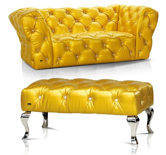 Yellow Leather Sectional Sofa: Diamond Studded Black Sofas And Chairs And Chaises