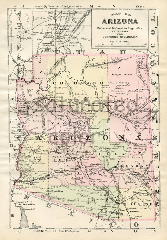 Map Of Arizona Phoenix.Arizona Map Original 1895 Antique Map Vintage Map Of Arizona