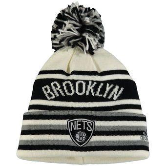 Youth Brooklyn Nets Adidas Black Cuffed Knit Hat With Pom