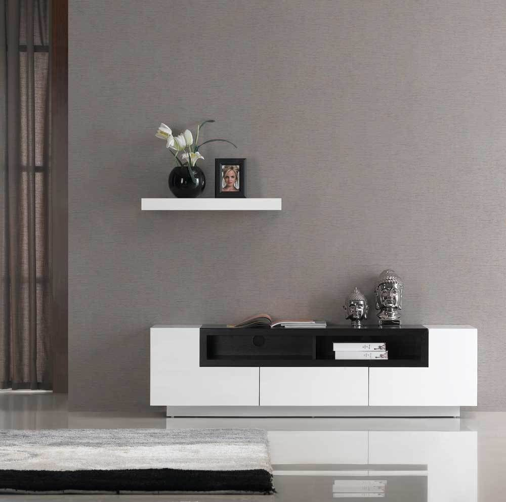 J&M JM002 White/Oak Highgloss Contemporary Tv Stand